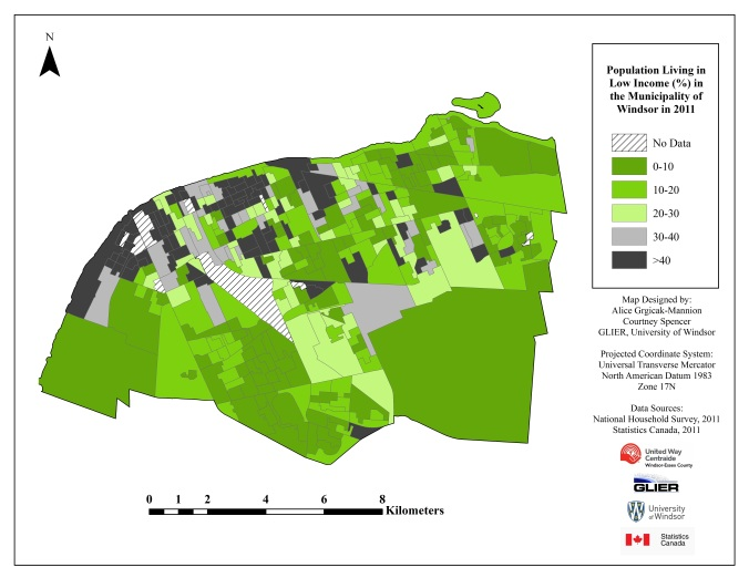 Windsor Population Living in Low Income 2011